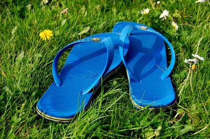 Claquettes dans l'herbe